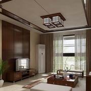 中式风格客厅原木吊顶装饰