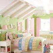 斜顶简约风格美式儿童房背景墙装饰