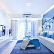 地中海浅蓝色沙发背景墙装饰