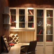 转角书柜中式原木色