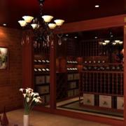 东南亚风格深色原木酒柜效果图