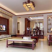 中式简约风格客厅原木吊顶装饰