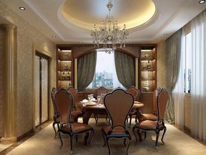 三室两厅东南亚风格餐厅吊顶背景墙装修效果图
