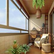 日式简约风格阳台原木吊顶装饰