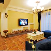 暖色系复式楼简约电视背景墙装饰