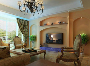 跃层式住宅客厅电视墙造型装修效果图