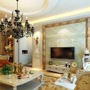 别墅欧式奢华客厅圆形吊顶装饰