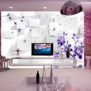 紫色简约风格客厅电视墙饰装饰