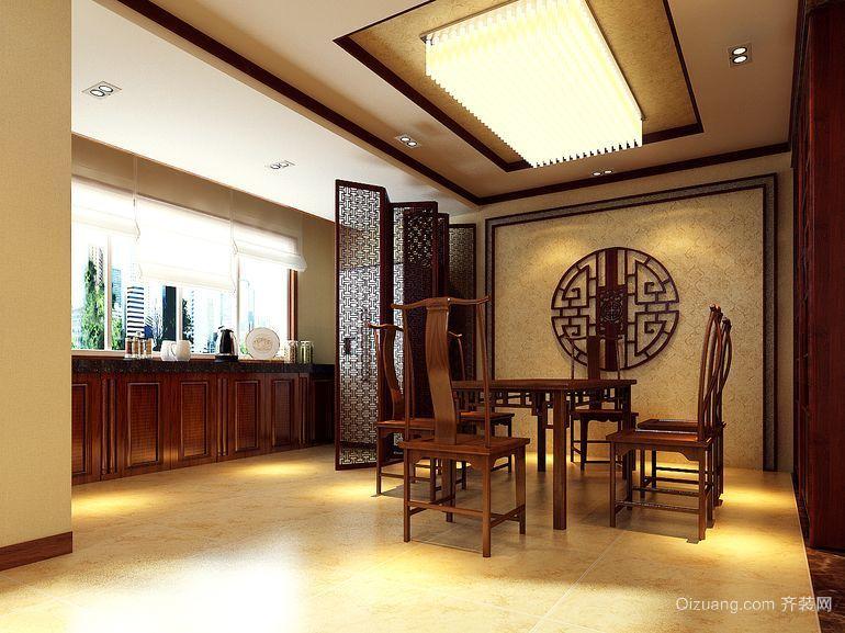 现代大户型中式饭店吊顶背景墙装修效果图