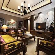 中式风格深色系客厅窗帘装饰