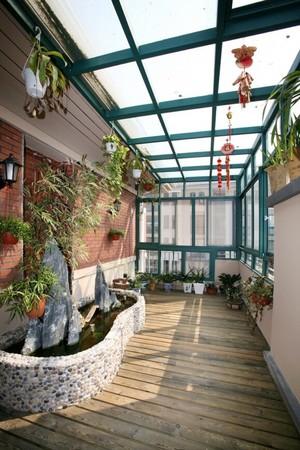 美式别墅顶楼露台阳光房装修设计效果图