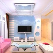 清新色现代客厅硅藻泥吊顶