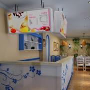 简约蓝色系奶茶店吧台装饰