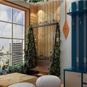 地中海风格原木阳台背景墙装饰