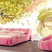 自然清新粉色系儿童房床饰装饰