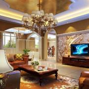 别墅欧式奢华电视背景墙装饰