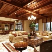 东南亚风格客厅原木吊顶装饰