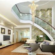客厅简约风格旋转楼梯装饰