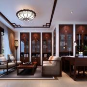 中式简约风格原木酒柜装饰