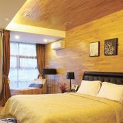 混搭风格卧室原木背景墙装饰