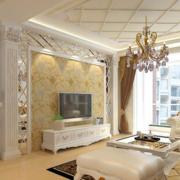 欧式风格客厅密集式吊顶装饰