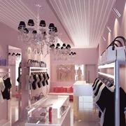欧式简约风格服装店石膏板吊顶装饰