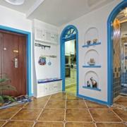 复式楼地中海风格玄关置物架装饰
