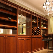 美式简约风格原木深色酒柜装饰