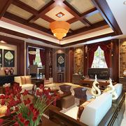 复式楼东南亚风格客厅吊顶装饰