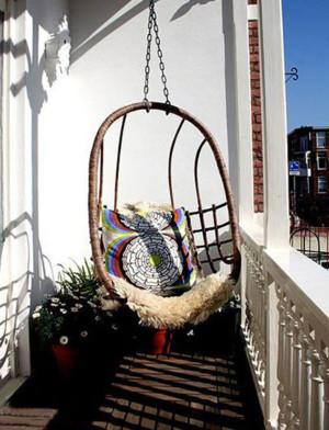 韩式清新风格阳台吊椅装饰
