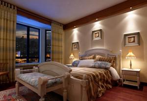 120㎡雅致美式风格卧室背景墙设计装修效果图