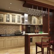 中式简约风格深色系厨房吧台装饰