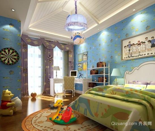 110㎡梦幻海洋地中海风格儿童房设计装修效果图