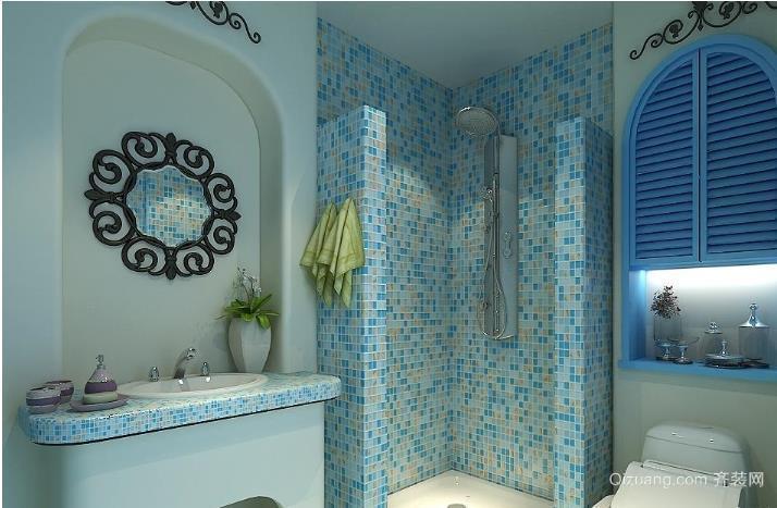 蓝色经典地中海风格卫生间瓷砖装修效果图