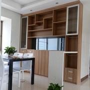 现代简约客厅原木浅色储物柜装饰