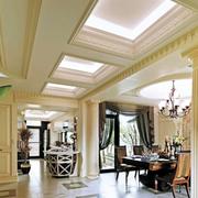 别墅欧式奢华回字形过道吊顶装饰
