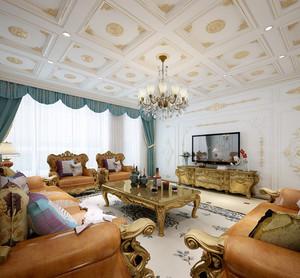 别墅法式密集式客厅吊顶装饰