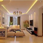 复式楼简约风格客厅珠帘隔断装饰