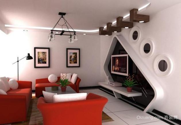 明亮简约客厅电视墙背景效果图
