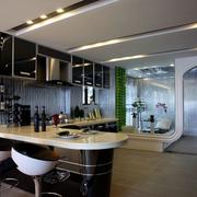 后现代风格奢华厨房吧台装饰