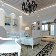欧式简约风格客厅白色系背景墙装饰