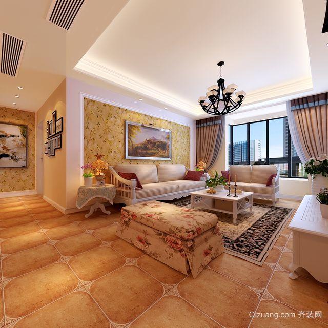单身公寓时尚简约田园风格客厅背景墙装修效果图