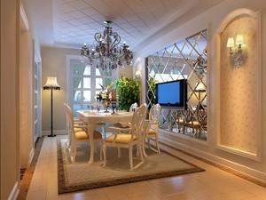 两居室现代简约欧式客厅电视墙石膏线装修效果图