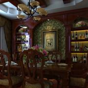 美式田园风格餐厅酒柜