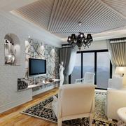 欧式简约风格客厅密集式吊顶装饰