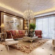 欧式风格客厅印花吊顶装饰