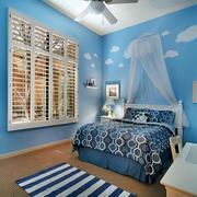 儿童房蓝色简约风格壁纸装饰