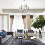 美式简约风格客厅石膏板吊顶装饰