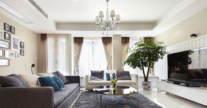 110㎡简约现代风格客厅吊顶电视背景墙装修效果图