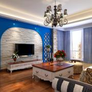 地中海客厅电视墙欧式现代款